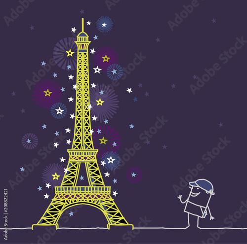 cartoon man and Paris by night