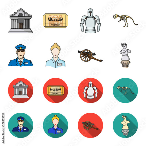 Guard, guide, statue, gun. Museum set collection icons in cartoon,flat style vector symbol stock illustration web.