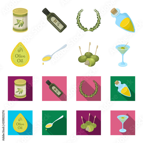 Label of olive oil, spoon with a drop, olives on sticks, a glass of alcohol. Olives set collection icons in cartoon,flat style vector symbol stock illustration web.