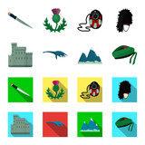 Edinburgh Castle, Loch Ness Monster, Grampian Mountains, national cap balmoral,tam o'shanter. Scotland set collection icons in cartoon,flat style vector symbol stock illustration web.