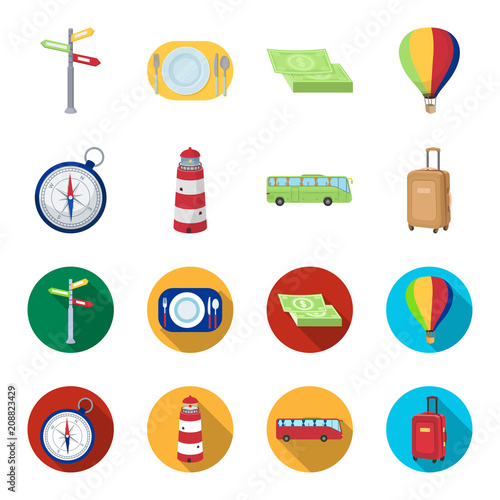Vacation, travel, lighthouse, compass .Rest and travel set collection icons in cartoon,flat style vector symbol stock illustration web.