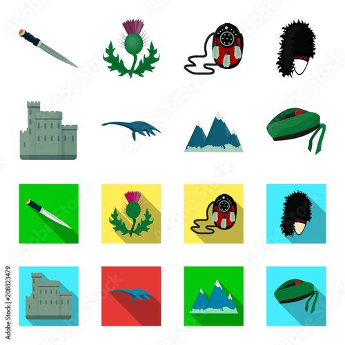 Wall mural Edinburgh Castle, Loch Ness Monster, Grampian Mountains, national cap balmoral,tam o'shanter. Scotland set collection icons in cartoon,flat style vector symbol stock illustration web.