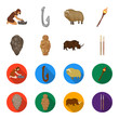 Primitive, woman, man, cattle .Stone age set collection icons in cartoon,flat style vector symbol stock illustration web.