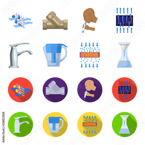 Mężczyzna, łysy, głowa, ręka Woda filtraci systemu ustalone inkasowe ikony w kreskówce, mieszkanie stylowa wektorowa symbolu zapasu ilustraci sieć.
