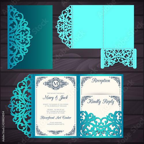 Laser Cut Wedding Trifold Envelope Template Vector Wedding