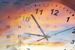 Leinwanddruck Bild - Clock and calendar in sky