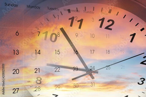 Leinwanddruck Bild Clock and calendar in sky