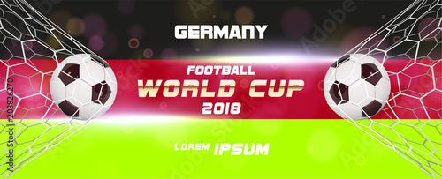 Soccer or Football wide Banner With 3d Ball on blue background and flag of Germany. Football game match goal moment with realistic ball in the net and place for text - 208826270