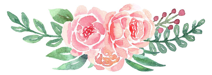 Loose Floral Watercolor Bouquet with Peonies © aves