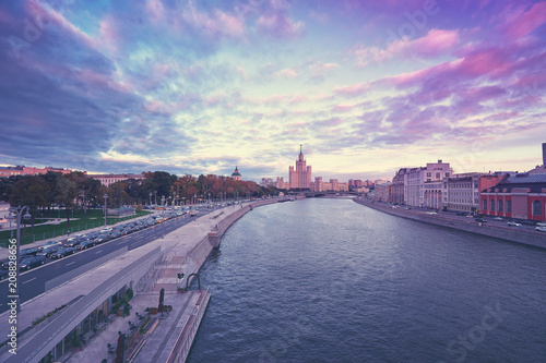 Beautiful sunset cityscape with city center and Moscow river.
