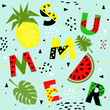 Trendy seamless, Memphis style watermelon and pineapple geometric pattern, vector illustration - 208829047