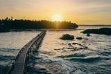 Beautiful landscape. Sunset on the seashore. Wooden bridge on Cloud 9 beach, Siargao Island Philippines. - 208830099