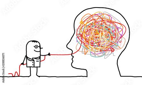 Cartoon doctor untangling a brain knot
