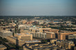 Aerial view (above) of Downtown Washington, DC from National Monument.  Sunset evening time.