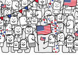Cartoon people - american national day