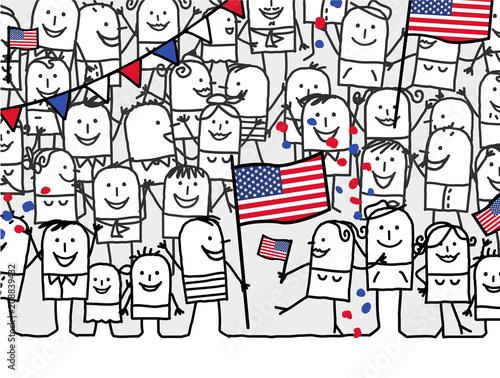 Cartoon people - american national day