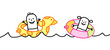 Cartoon kids with buoys in water