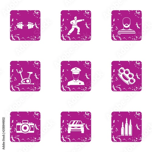Sport kick icons set. Grunge set of 9 sport kick vector icons for web isolated on white background