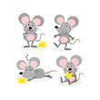 cute mouse and cheese vector set - 208854043