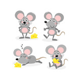 cute mouse and cheese vector set