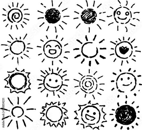 Black Hand-painted sun illustration set