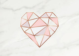 Geometric rose gold heart shape with marble background texture design for packaging, wedding card and cover template.