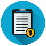 paper about money circle icon - 208855412