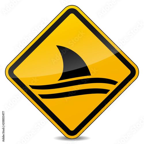 Fototapeta shark warning yellow sign design
