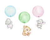Teddy bear, elephant and hippopotamus flying on balloons - 208858834