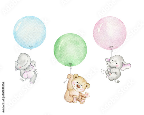 Teddy bear, elephant and hippopotamus flying on balloons