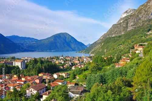 Fridge magnet Porlezza am Luganersee, Italien - Porlezza small town on Lake Lugano