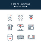 Red Point appliances line icon set - 208861836