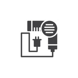 Hair dryer vector icon. filled flat sign for mobile concept and web design. blow dryer simple solid icon. Symbol, logo illustration. Pixel perfect vector graphics - 208864025