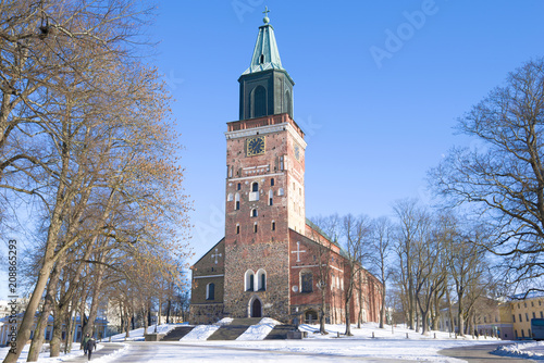 Foto Murales View of the medieval Lutheran Cathedral of the 13th century on a sunny February day. Turku, Finland