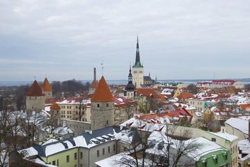 Winter landscape of the old Tallinn. Estonia