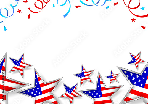 Usa flag in star shape with paper shoot background.. Happy 4th of july, independence day of America. Illustration isolated on white.