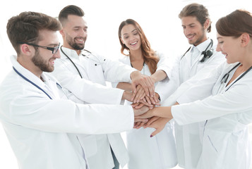 group of medical interns shows their unity