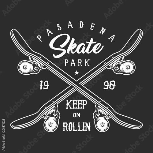 Aluminium Skateboard Vintage skateboarding monochrome label concept