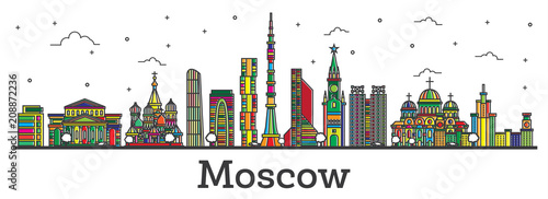 Poster Outline Moscow Russia City Skyline with Color Buildings Isolated on White.