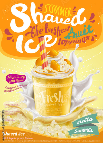 Wall mural Mango flavor ice shaved poster