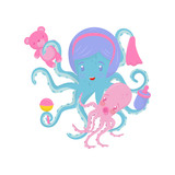 Mom octopus with her little baby. Marine animal holding small bottle, handkerchief and toys in tentacles. Flat vector for poster or banner