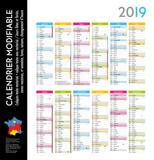 Calendrier 2019 sur 12 mois MODIFIABLE avec calques textes vectorisés et non vectorisés / Calendrier scolaire jusque congés d'été - 208878402