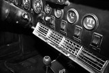 ISRAEL, PETAH TIQWA - MAY 14, 2016:  Exhibition of technical antiques. Dashboard in interior of old retro automobile in Petah Tiqwa, Israel