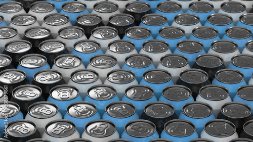 Big black, white and blue soda cans on white background