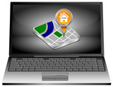 Laptop Computer with Map pointer with Hotel Symbol - 3D illustration - 208880877