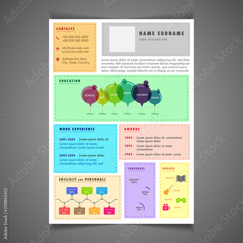 infographic resume template can be use as letterhead or cover letter professional cv design with