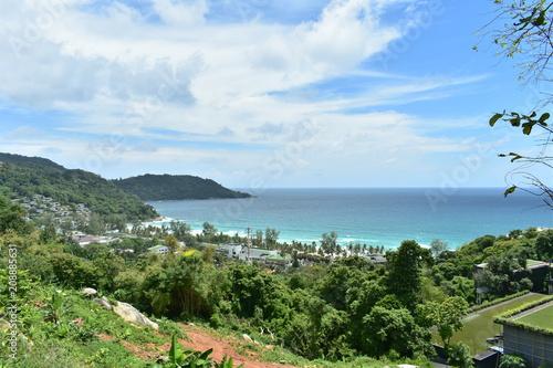 Plexiglas Tropical strand sea view blue ocean and sky