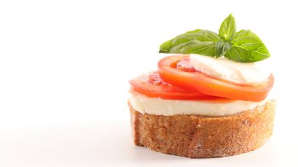 bruschetta with tomato, mozzarella and basil