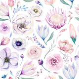 Seamless spring lilac watercolor floral pattern on a white background. Pink and rose flowers, weddind decoration illustration. - 208889051