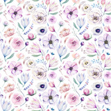 Seamless spring lilac watercolor floral pattern on a white background. Pink and rose flowers, weddind decoration illustration. - 208889473